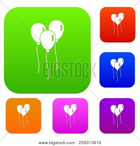 Balloons set icon color in flat style isolated on white. Collection sings vector illustration