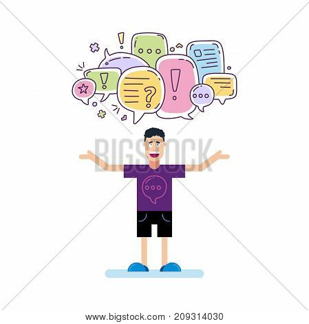 Vector Illustration Of Man And Colorful Color Dialog Speech Bubbles With Icons And Text Let S Talkin