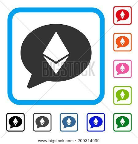 Ethereum Message Balloon icon. Flat grey pictogram symbol in a light blue rounded rectangle. Black, gray, green, blue, red, orange color variants of Ethereum Message Balloon vector.