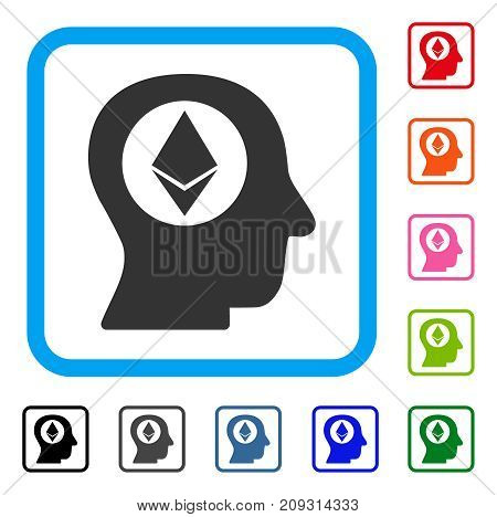 Ethereum Mind icon. Flat grey iconic symbol inside a light blue rounded frame. Black, gray, green, blue, red, orange color additional versions of Ethereum Mind vector. Designed for web and app UI.
