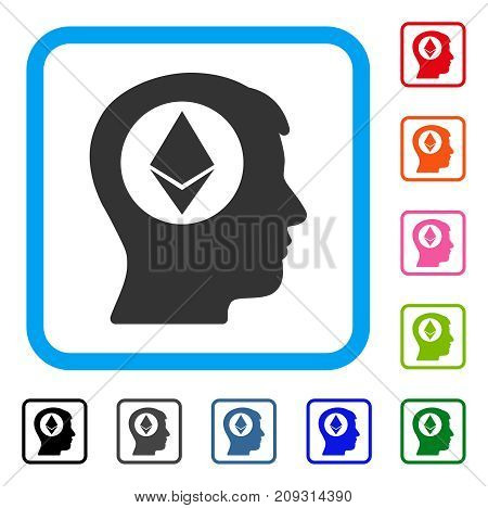 Ethereum Mind icon. Flat grey iconic symbol inside a light blue rounded frame. Black, gray, green, blue, red, orange color additional versions of Ethereum Mind vector.