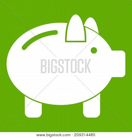 Piggy bank icon white isolated on green background. Vector illustration