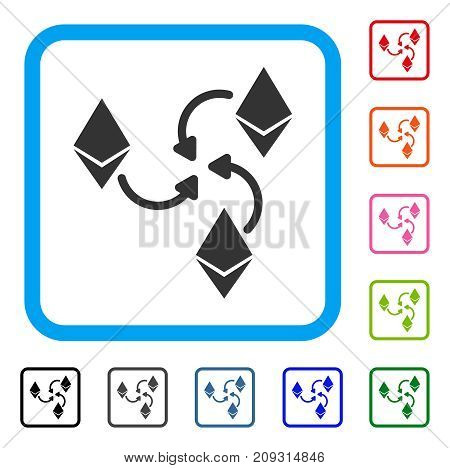 Ethereum Mixer Swirl icon. Flat grey pictogram symbol in a light blue rounded rectangular frame. Black, gray, green, blue, red, orange color versions of Ethereum Mixer Swirl vector.