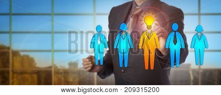 Unrecognizable male business person selecting the brightest candidate. Human resources concept for talent management leadership team work career success staffing solution inspiration and idea.