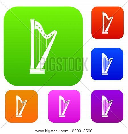 Harp set icon color in flat style isolated on white. Collection sings vector illustration