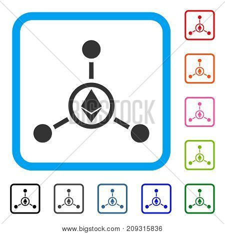 Ethereum Relations icon. Flat gray pictogram symbol inside a light blue rounded square. Black, gray, green, blue, red, orange color versions of Ethereum Relations vector.