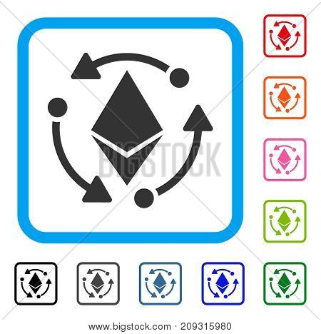 Ethereum Rotation icon. Flat grey iconic symbol in a light blue rounded rectangular frame. Black, gray, green, blue, red, orange color additional versions of Ethereum Rotation vector.