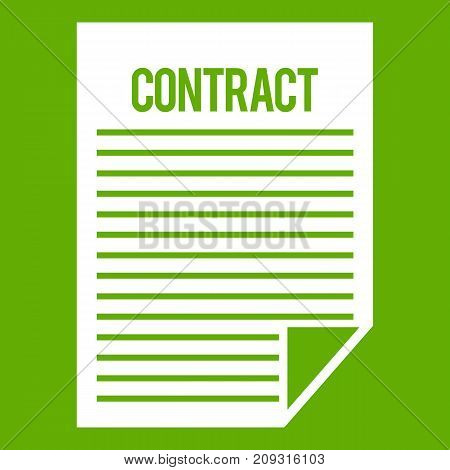 Contract icon white isolated on green background. Vector illustration
