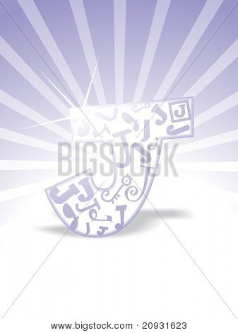 abstract purple rays background with isolated j, vector illustration