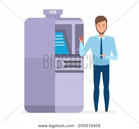 Bank company employee, cartoon character, stands next to atm terminal, holds card in hand, tells about company's service and card capabilities. Banking, payments, cash withdrawal. Vector illustration.