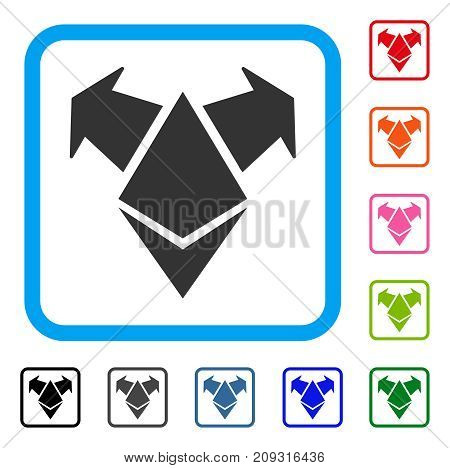 Ethereum Spend Arrows icon. Flat gray iconic symbol in a light blue rounded squared frame. Black, gray, green, blue, red, orange color versions of Ethereum Spend Arrows vector.