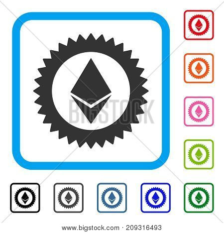 Ethereum Stamp Seal icon. Flat gray pictogram symbol in a light blue rounded squared frame. Black, gray, green, blue, red, orange color variants of Ethereum Stamp Seal vector.