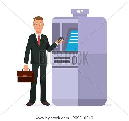 Businessman cartoon character person, customer, client of banking company, stands next to atm terminal, holds credit card, for cash withdrawal. Finance operations. Vector illustration.