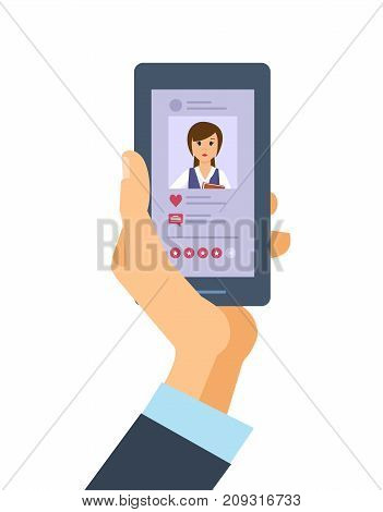 Hand holds the smartphone. Mobile applications social media. Sending messages and smiles in the messenger, SMS message, e-mail. Social network, system of rating. Vector illustration