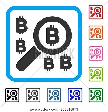 Find Bitcoin icon. Flat grey iconic symbol inside a light blue rounded square. Black, gray, green, blue, red, orange color versions of Find Bitcoin vector. Designed for web and app UI.