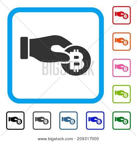 Hand Take Bitcoin icon. Flat gray iconic symbol in a light blue rounded frame. Black, gray, green, blue, red, orange color additional versions of Hand Take Bitcoin vector.