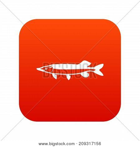 Saury icon digital red for any design isolated on white vector illustration