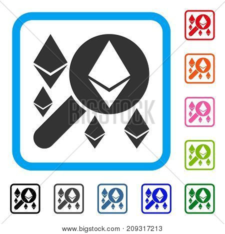Loupe Search Ethereum icon. Flat gray pictogram symbol in a light blue rounded rectangular frame. Black, gray, green, blue, red, orange color additional versions of Loupe Search Ethereum vector.