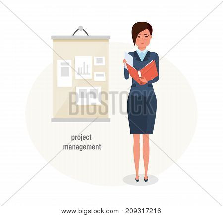 Girl, office worker, engaged in project management and control over projects, conducts training, carries out activity planning. Time management, business, planning. Vector illustration isolated.