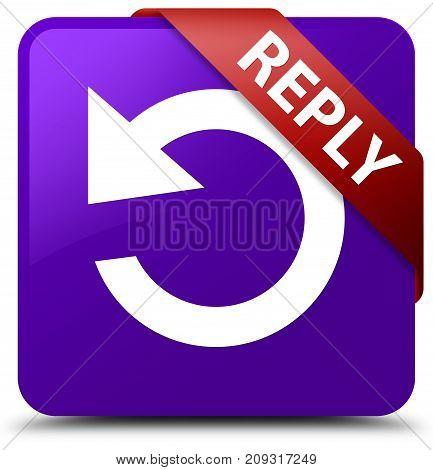 Reply (rotate Arrow Icon) Purple Square Button Red Ribbon In Corner