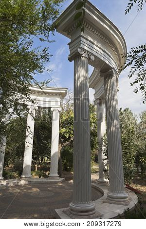 Colonnade in the garden named after Karaev in the resort town of Evpatoria, Crimea, Russia