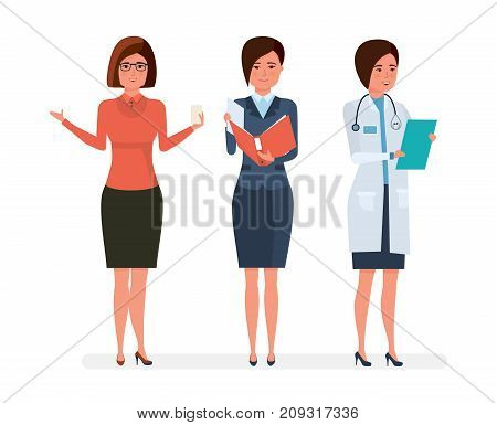 Various women's professions cartoon character people. Teacher, businesswoman, hospital doctor. Education, teaching, finance, business, healthcare medicine Vector illustration isolated