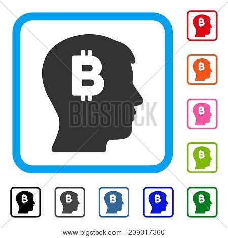 Mental Bitcoin icon. Flat gray pictogram symbol in a light blue rounded rectangular frame. Black, gray, green, blue, red, orange color variants of Mental Bitcoin vector.