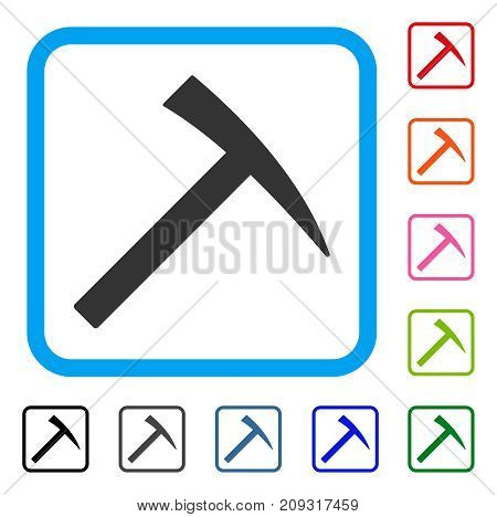 Mining Hammer icon. Flat gray pictogram symbol in a light blue rounded rectangular frame. Black, gray, green, blue, red, orange color versions of Mining Hammer vector.