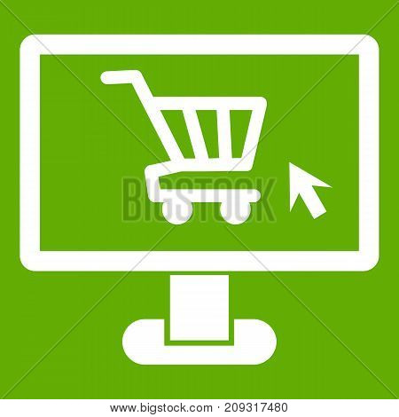 Computer monitor with shopping cart icon white isolated on green background. Vector illustration