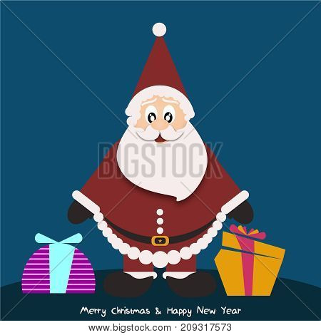 Background with Santa Claus with gifts color
