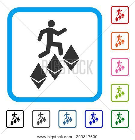 Person Climb Ethereum icon. Flat gray pictogram symbol in a light blue rounded square. Black, gray, green, blue, red, orange color versions of Person Climb Ethereum vector.