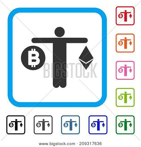 Person Compare Cryptocurrency icon. Flat grey pictogram symbol inside a light blue rounded rectangle. Black, gray, green, blue, red, orange color variants of Person Compare Cryptocurrency vector.