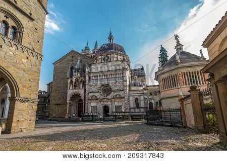 Bergamo Italy - May 27 2016: Wide-angle view of the Cappella Colleoni chapel Piazza Duomo Bergamo Italy.