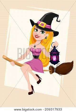Halloween greeting card. Beautiful lady witch flying on broom and holding lamp. Cartoon character on abstract background. Vector stock