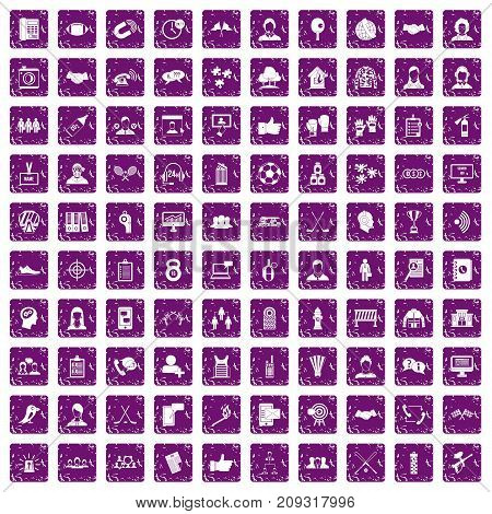 100 team icons set in grunge style purple color isolated on white background vector illustration