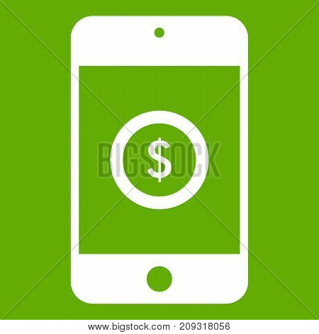 Smartphone with dollar sign on display icon white isolated on green background. Vector illustration