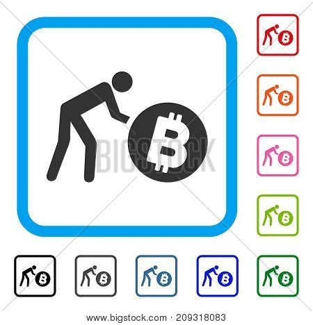 Worker Roll Bitcoin icon. Flat grey iconic symbol in a light blue rounded frame. Black, gray, green, blue, red, orange color additional versions of Worker Roll Bitcoin vector.