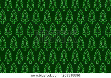 Coniferous tree - vector pattern , Green tree on a green background
