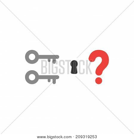 Flat Design Style Vector Concept Of Two Key Icons With Keyhole And Question Mark On White