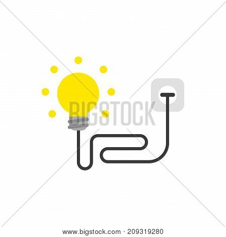 Flat Design Style Vector Concept Of Yellow Light Bulb With Wire Plugged Into Outlet On White