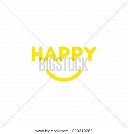 Flat Design Style Vector Concept Of Happy Text With Smiling Mouth On White