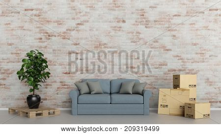 Relocation and delivery furniture concept with shipping boxes and sofa (3D Rendering)