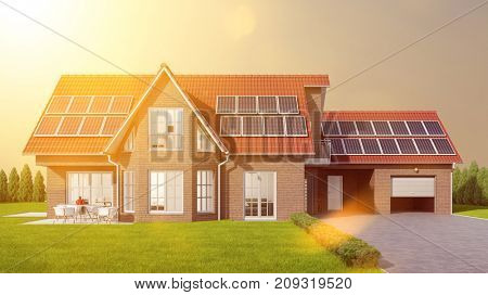 Solar systems house with photovoltaic panels as sustainability concept (3D Rendering)