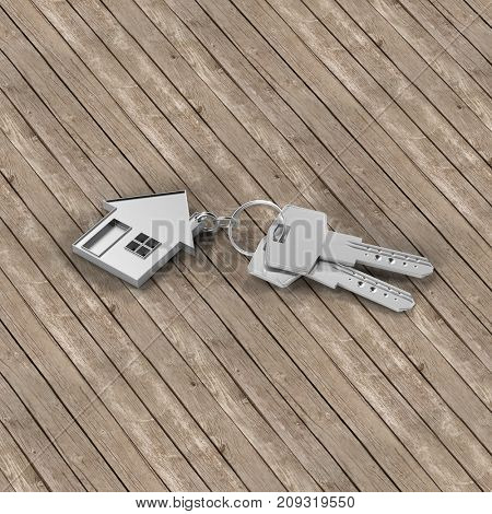 House purchase or new building construction concept with keys on keychain (3D Rendering)