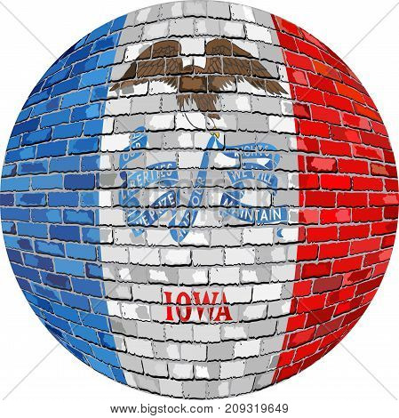 Ball with Iowa flag in brick style - Illustration