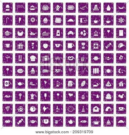100 tea party icons set in grunge style purple color isolated on white background vector illustration