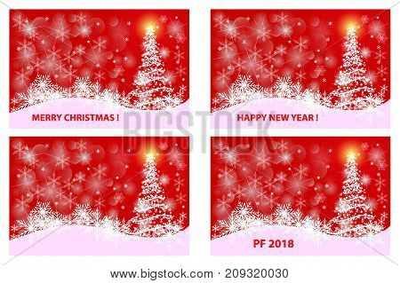 Merry Christmas , Happy New Year , PF 2018 , Christmas card - white and red vector set