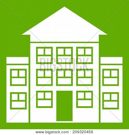 Bank building icon white isolated on green background. Vector illustration