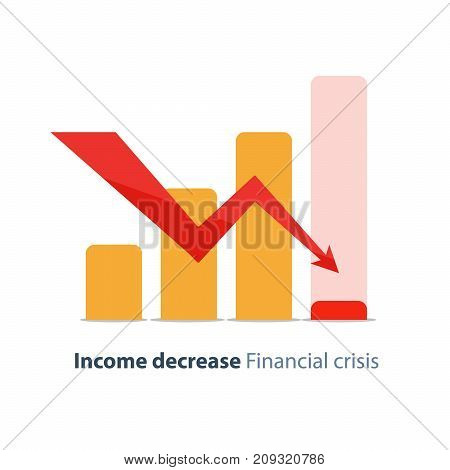 Income decrease graph, financial crisis rate, revenue decline chart, economy downturn, investment risk, fund management, budget deficit, vector illustration, flat icon