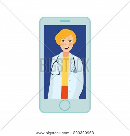vector flat adult female doctor, head physician in white medical clothing with stethoscope smiling avatar in smartphone. Isolated illustration on a white background. Internet consultation concept